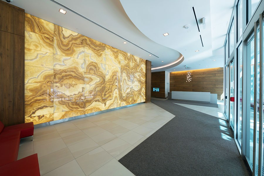 Backlit Onyx Lobby Feature Wall