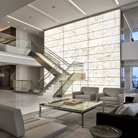 Backlit Onyx Lobby Wall