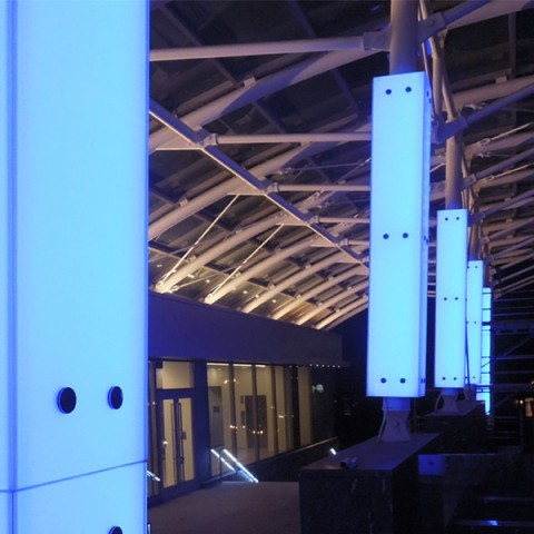 Backlit Glass Exterior Columns